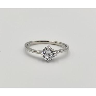 δαχτυλίδι ασήμι 925 μονόπετρο ρόδιο λευκά ζιργκόν 18