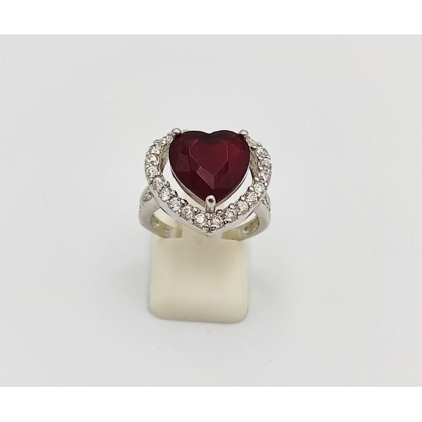 Δαχτυλίδι ασήμι 925 ρόδιο καρδιά με λευκά και κόκκινο ζιργκόν