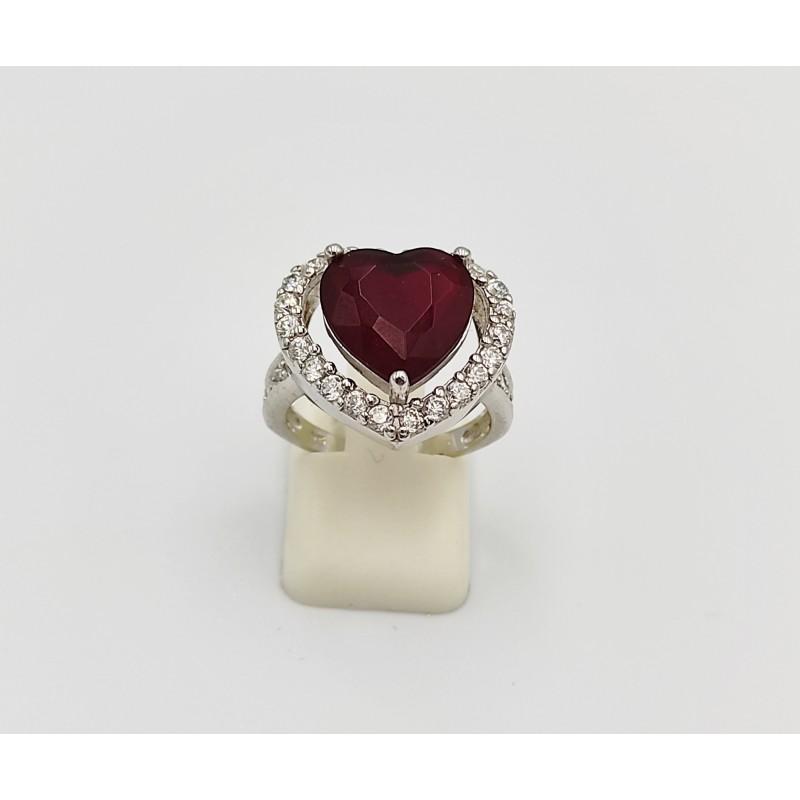 δαχτυλίδι ασήμι 925 ρόδιο καρδιά με λευκά και κόκκινο ζιργκόν 7