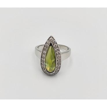 δαχτυλίδι ασήμι 925 μονόπετρο ρόδιο λευκά ζιργκόν 9