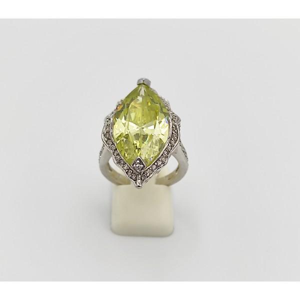 Δαχτυλίδι ασήμι 925 ρόδιο με λαχανί και λευκά ζιργκόν
