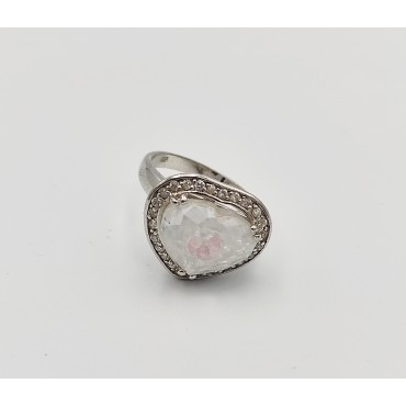 δαχτυλίδι ασήμι 925 διπλό ρόδιο καρδιά λευκά ζιργκόν 14