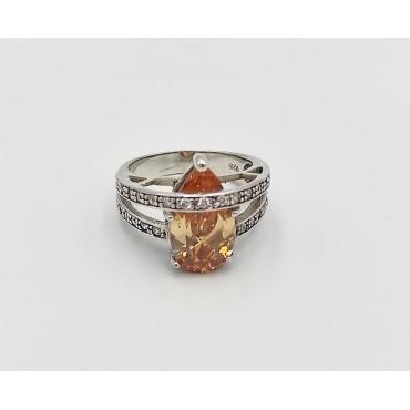 δαχτυλίδι ασήμι 925 μονόπετρο ρόδιο λευκά ζιργκόν 11
