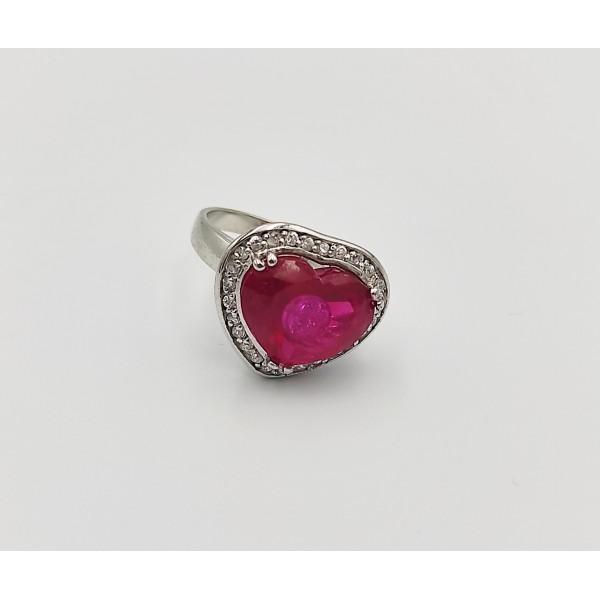 Δαχτυλίδι ασήμι 925 καρδιά με λευκά και κόκκινο ζιργκόν