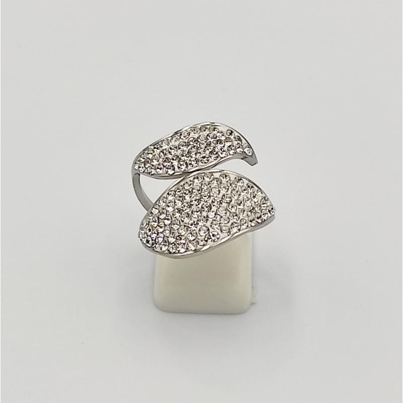 δαχτυλίδι από χειρουργικό ατσάλι με λευκά στρας 7