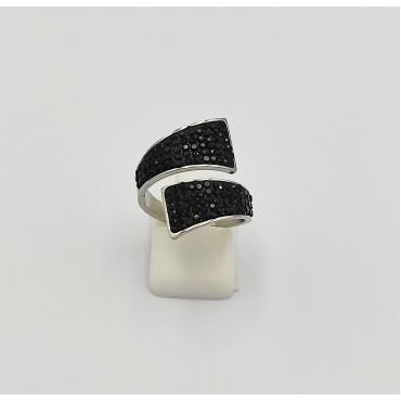 δαχτυλίδι ασήμι 925 ρόδιο καρδιά με λευκά ζιργκόν 19