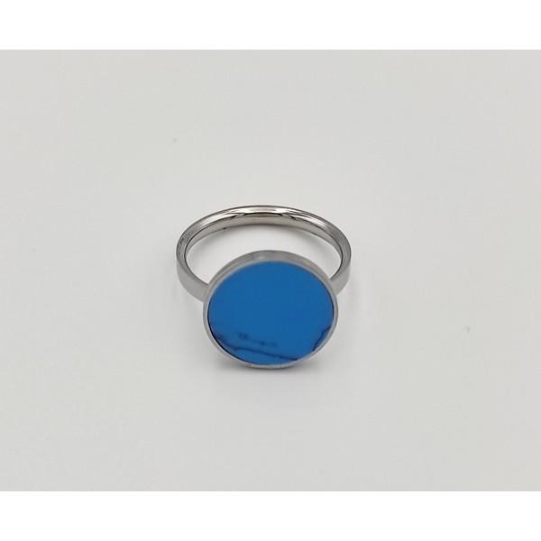 Δαχτυλίδι από χειρουργικό ατσάλι με λευκή πέτρα