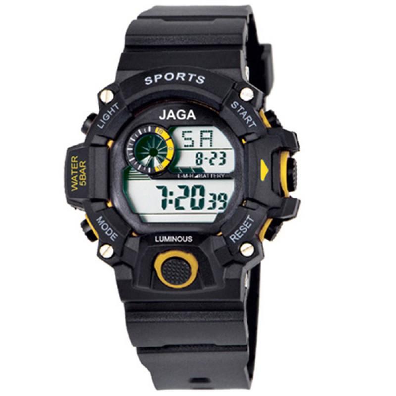 ρολόι jaga παιδικό ψηφιακό μαύρο με κίτρινο 7