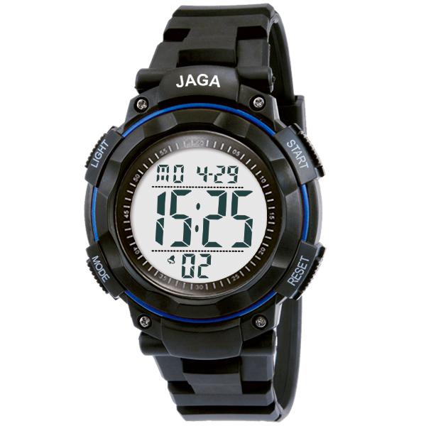 Ρολόι JAGA ανδρικό ψηφιακό μαύρο με μπλε στεφάνι